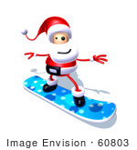 #60803 Royalty-Free (Rf) Illustration Of A 3d Santa Claus Snowboarding - Version 4