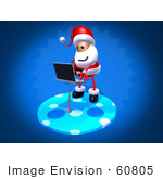 #60805 Royalty-Free (Rf) Illustration Of A 3d Santa Using A Laptop - Version 2