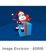 #60806 Royalty-Free (Rf) Illustration Of A 3d Santa Sitting On A Blue Present - Version 2