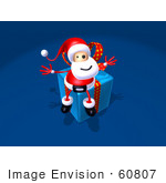 #60807 Royalty-Free (Rf) Illustration Of A 3d Santa Sitting On A Blue Present - Version 1