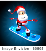 #60808 Royalty-Free (Rf) Illustration Of A 3d Santa Snowboarding - Version 1