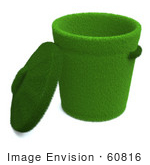 #60816 Royalty-Free (Rf) Illustration Of A Lid Resting Against A 3d Green Trash Can