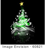 #60821 Royalty-Free (Rf) Illustration Of A Green Spiral Christmas Tree - Version 1