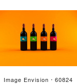 #60824 Royalty-Free (Rf) Illustration Of A Row Of 3d Black Wine Bottles With Colorful Labels - Version 1