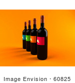 #60825 Royalty-Free (Rf) Illustration Of A Row Of 3d Black Wine Bottles With Colorful Labels - Version 2