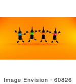 #60826 Royalty-Free (Rf) Illustration Of A Happy Group Of 3d Black Wine Bottle Mascots Jumping
