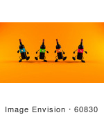 #60830 Royalty-Free (Rf) Illustration Of A Group Of 3d Black Wine Bottle Mascots Walking Forward - Version 2