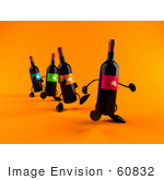 #60832 Royalty-Free (Rf) Illustration Of A Row Of 3d Black Wine Bottle Mascots Walking Forward - Version 2