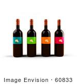#60833 Royalty-Free (Rf) Illustration Of A Row Of 3d Black Wine Bottles With Colorful Labels - Version 4