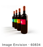 #60834 Royalty-Free (Rf) Illustration Of A Row Of 3d Black Wine Bottles With Colorful Labels - Version 3