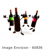#60836 Royalty-Free (Rf) Illustration Of A Circle Of 3d Wine Bottle Characters Jumping - Version 2