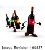 #60837 Royalty-Free (Rf) Illustration Of A Row Of 3d Wine Bottle Characters Walking Forward - Version 1