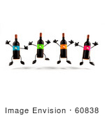 #60838 Royalty-Free (Rf) Illustration Of A Row Of 3d Wine Bottle Characters Jumping