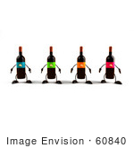 #60840 Royalty-Free (Rf) Illustration Of A Row Of 3d Wine Bottle Characters With Colorful Labels