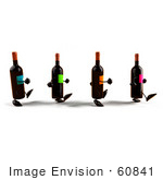 #60841 Royalty-Free (Rf) Illustration Of A Group Of 3d Wine Bottle Characters Walking Right - Version 1
