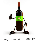 #60842 Royalty-Free (Rf) Illustration Of A 3d Wine Bottle Character With A Green Label Giving The Thumbs Up