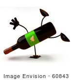 #60843 Royalty-Free (Rf) Illustration Of A 3d Wine Bottle Character Doing A Cartwheel - Version 2