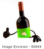 #60844 Royalty-Free (Rf) Illustration Of A 3d Wine Bottle Character Giving The Thumbs Up And Standing Behind A Blank Sign