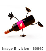 #60845 Royalty-Free (Rf) Illustration Of A 3d Wine Bottle Character Doing A Cartwheel - Version 1
