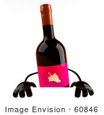 #60846 Royalty-Free (Rf) Illustration Of A 3d Wine Bottle Character Standing Behind A Blank Sign