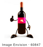 #60847 Royalty-Free (Rf) Illustration Of A 3d Wine Bottle Character With A Pink Label Giving The Thumbs Up