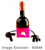 #60848 Royalty-Free (Rf) Illustration Of A 3d Wine Bottle Character Pointing Down At And Standing Behind A Blank Sign