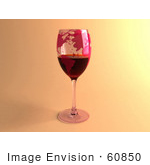 #60850 Royalty-Free (Rf) Illustration Of A 3d Glass Of Red Wine With World Continents Printed On The Glasss