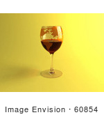 #60854 Royalty-Free (Rf) Illustration Of A 3d Glass Of Red Wine With A World Atlas Printed On The Glass - Version 4