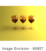 #60857 Royalty-Free (Rf) Illustration Of Three 3d Glasses Of Red Wine With Continents On The Glass - Version 5