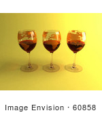 #60858 Royalty-Free (Rf) Illustration Of Three 3d Glasses Of Red Wine With Continents On The Glass - Version 4