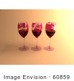 #60859 Royalty-Free (Rf) Illustration Of Three 3d Glasses Of Red Wine With Continents On The Glass - Version 1