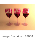 #60860 Royalty-Free (Rf) Illustration Of Three 3d Glasses Of Red Wine With Continents On The Glass - Version 2
