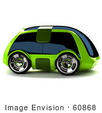 #60868 Royalty-Free (Rf) Illustration Of A 3d Futuristic Green Concept Car With Tinted Windows - Version 4
