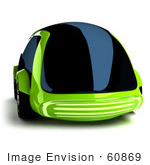 #60869 Royalty-Free (Rf) Illustration Of A 3d Futuristic Green Concept Car With Tinted Windows - Version 5