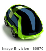 #60870 Royalty-Free (Rf) Illustration Of A 3d Futuristic Green Concept Car With Tinted Windows - Version 3