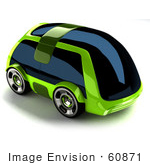 #60871 Royalty-Free (Rf) Illustration Of A 3d Futuristic Green Concept Car With Tinted Windows - Version 1