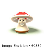 #60885 Royalty-Free (Rf) Illustration Of A 3d Fly Agaric Mushroom Character Smiling And Facing Front - Version 4