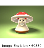 #60889 Royalty-Free (Rf) Illustration Of A 3d Fly Agaric Mushroom Character Smiling And Facing Front - Version 2