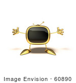 #60890 Royalty-Free (Rf) Illustration Of A 3d Gold Television Mascot Holding His Arms Open - Version 5