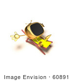 #60891 Royalty-Free (Rf) Illustration Of A 3d Gold Television Mascot Sun Bathing - Version 3