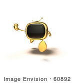 #60892 Royalty-Free (Rf) Illustration Of A 3d Gold Television Mascot Running - Version 3