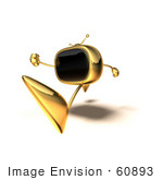 #60893 Royalty-Free (Rf) Illustration Of A 3d Gold Television Mascot Running - Version 4
