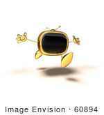 #60894 Royalty-Free (Rf) Illustration Of A 3d Gold Television Mascot Running With His Arms Open