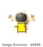 #60895 Royalty-Free (Rf) Illustration Of A 3d Gold Television Mascot Sun Bathing - Version 4