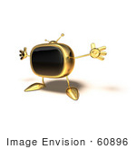 #60896 Royalty-Free (Rf) Illustration Of A 3d Gold Television Mascot Holding His Arms Open - Version 4