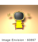 #60897 Royalty-Free (Rf) Illustration Of A 3d Golden Television Character Sun Bathing - Version 2