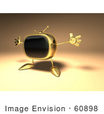 #60898 Royalty-Free (Rf) Illustration Of A 3d Golden Television Character Holding His Arms Open - Version 1