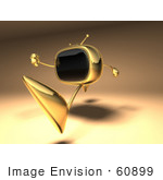 #60899 Royalty-Free (Rf) Illustration Of A 3d Golden Television Character Running - Version 2