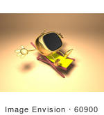 #60900 Royalty-Free (Rf) Illustration Of A 3d Golden Television Character Sun Bathing - Version 1