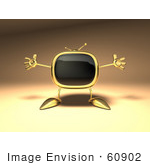 #60902 Royalty-Free (Rf) Illustration Of A 3d Golden Television Character Holding His Arms Open - Version 2